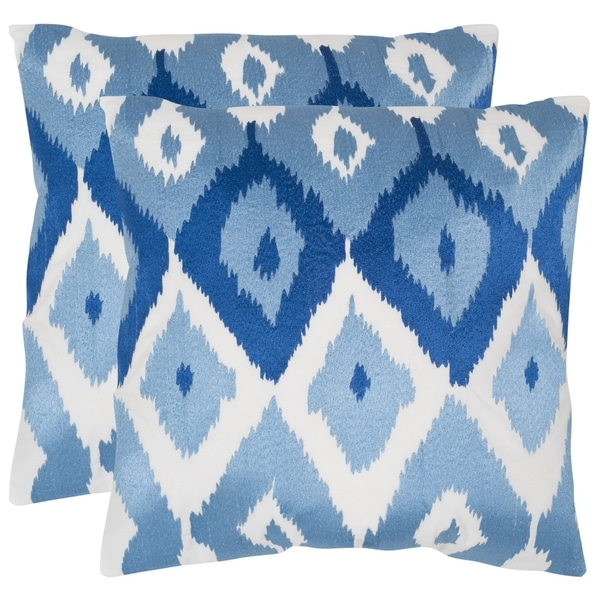 Safavieh Lexi Indigo 22-inch Square Throw Pillows (Set of 2)