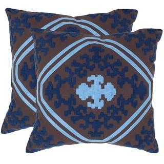Safavieh Pete Chocolate/ Indigo 18-inch Square Throw Pillows (Set of 2)