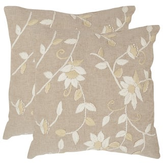 Safavieh Vallie Beige 18-inch Square Throw Pillows (Set of 2)