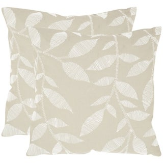 Safavieh May Beige 20-inch Square Throw Pillows (Set of 2)