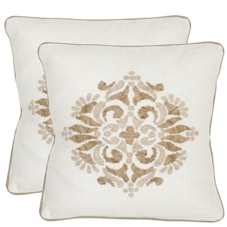 Safavieh Margherite Linen Cream 20-inch Square Throw Pillows (Set of 2)
