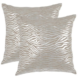 Safavieh Demi Silver 22-inch Square Throw Pillows (Set of 2)