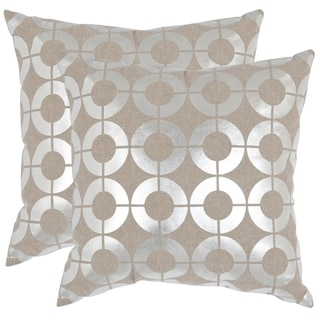 Safavieh Bailey Silver 22-inch Square Throw Pillows (Set of 2)
