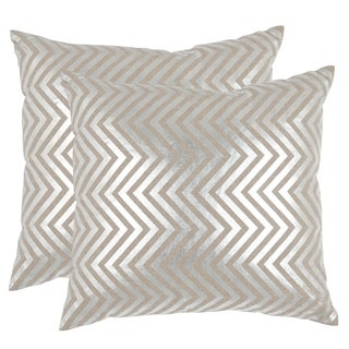 Safavieh Elle Silver 18-inch Square Throw Pillows (Set of 2)