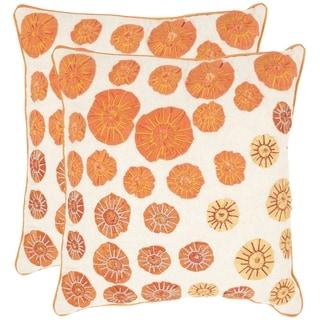 Safavieh Aubrey Orange/ Taupe 18-inch Square Throw Pillows (Set of 2)