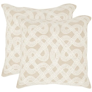 Safavieh Lola Beige 18-inch Square Throw Pillows (Set of 2)