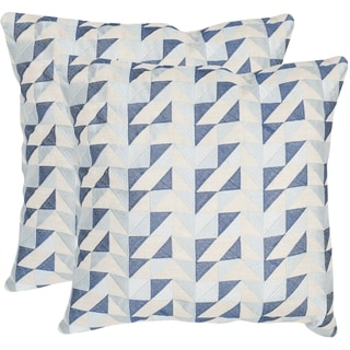 Safavieh Nautical Geo Blue Mirage 20-inch Square Throw Pillows (Set of 2)