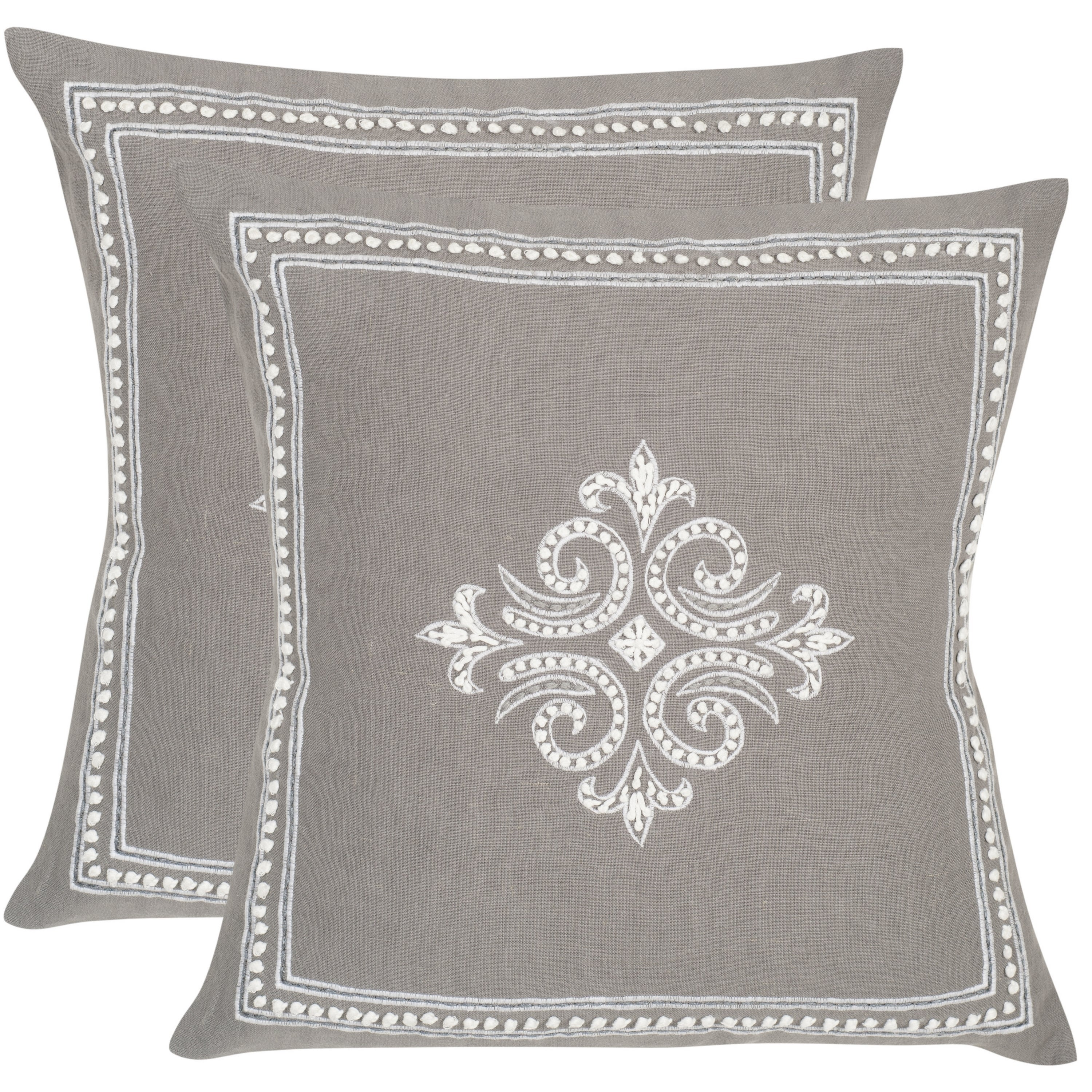Safavieh Charleroi Sterling 20-inch Square Throw Pillows (Set of 2)