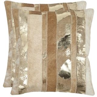 Safavieh Peyton Gold 18-inch Square Throw Pillows (Set of 2)