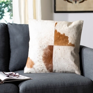 Safavieh Carley Tan/ White 22-inch Square Throw Pillows (Set of 2)