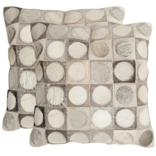 Safavieh Brigitte Multi/ Grey 18-inch Square Throw Pillows (Set of 2)