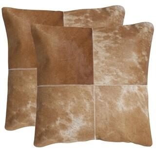Safavieh Selma Tan 18-inch Square Throw Pillows (Set of 2)