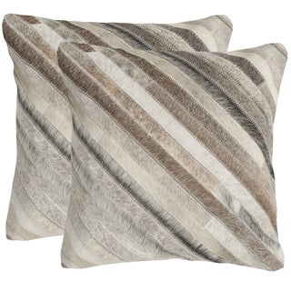 Safavieh Cherilyn Grey 18-inch Square Throw Pillows (Set of 2)