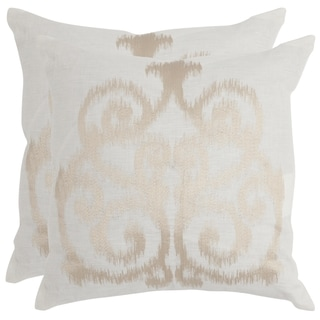 Safavieh Harper Champagne 18-inch Square Throw Pillows (Set of 2)