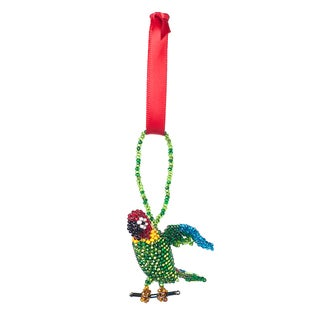 Hand-beaded Parrot Christmas Ornament (Guatemala)