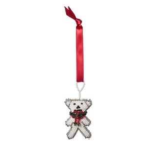 Hand-beaded Polar Bear Christmas Ornament (Guatemala)