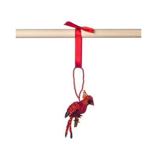 Hand-beaded Cardinal Christmas Ornament (Guatemala)