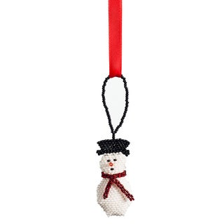 Beaded Snowman Christmas Ornament (Guatemala)