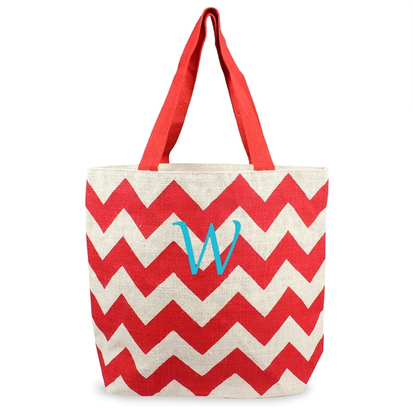 Personalized Red Chevron Parchment Jute Tote Bag
