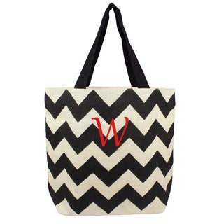 Personalized Black Chevron Parchment Jute Tote Bag