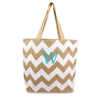 Personalized White Chevron Natural Jute Tote Bag