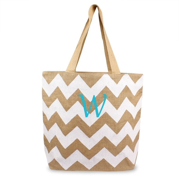 Personalized White Chevron Natural Jute Tote Bag