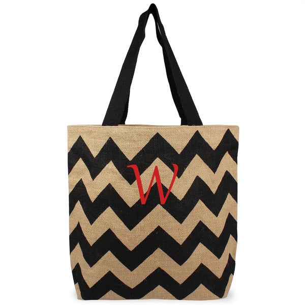 Personalized Black Chevron Natural Jute Tote Bag