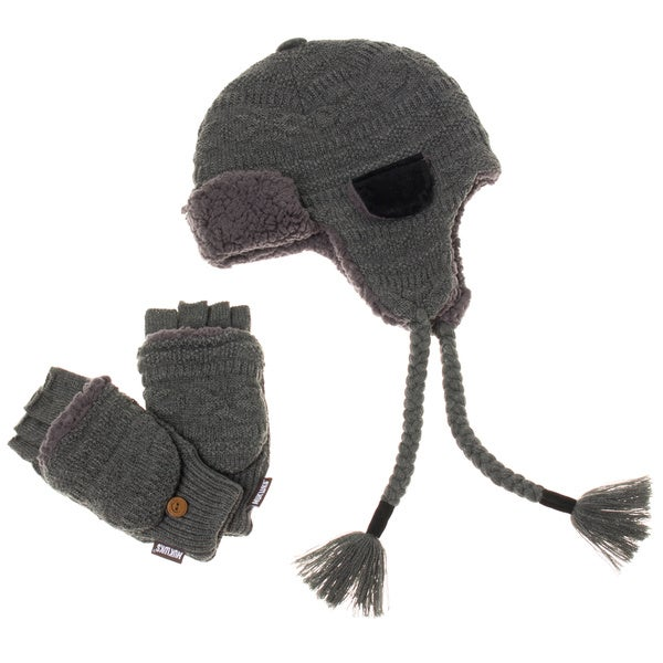 Muk Luks Men's Grey Trapper Hat with Flip Mitten Set