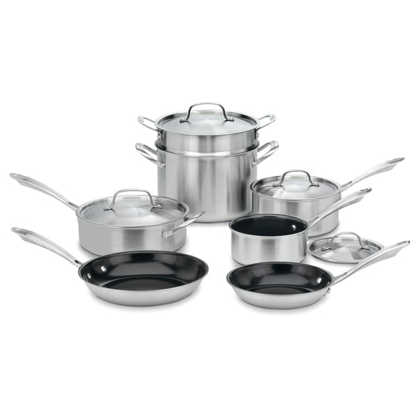 11-piece Green Gourmet Tri-ply Stainless Steel Cookware Set