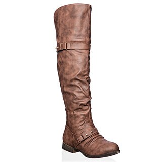 Top Moda Step-22 Women's Over-the-Knee Buckle Riding Boots