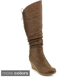 Top Moda Pure-40 Women's Knee-high Slouched Wedge Boots