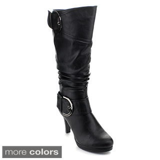 Top Moda Page-22 Women's Knee-high Buckle Slouched Boots
