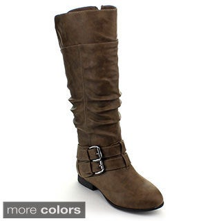 Top Moda Coco-20 Women's Knee-high Buckle Slouched Boots