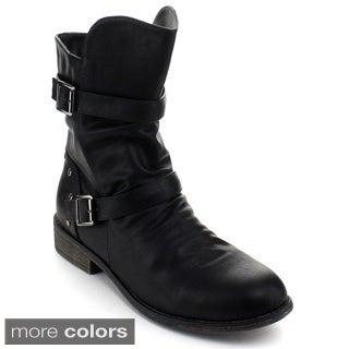 Top Moda Fay-1 Women's Mid-calf Buckle Boots