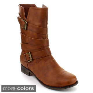 I Heart Collection Lambert-07 Women's Mid-calf Buckle Riding Boots