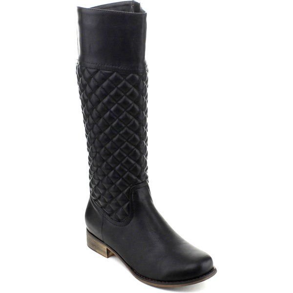 I Heart Collection Lambert-05 Women's Knee-high Quilt Pattern Riding Boots