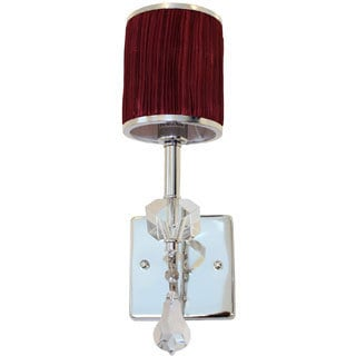 Burgundy Drum Crystal Wall Sconce Light