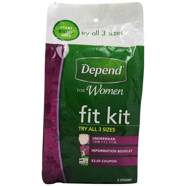 Depend Underwear 3-count Fit Kit for Women (Pack of 6)