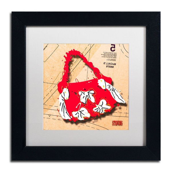 Roderick Stevens 'Bow Purse White on Red' Framed Matted Art