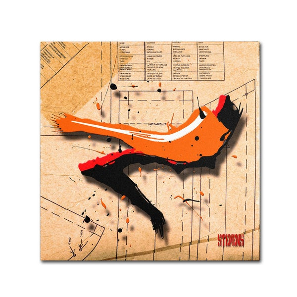 Roderick Stevens 'Suede Heel Orange' Canvas Art
