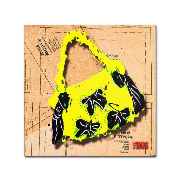 Roderick Stevens 'Bow Purse Black on Yellow' Canvas Art