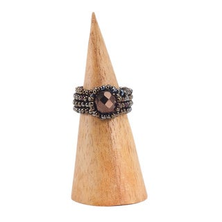 Handmade Brown Glass Bead Mayan Gem Ring (Guatemala)