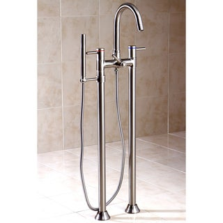 Dual Post Floor Mount Satin Nickel Tub Filler with Hand Shower