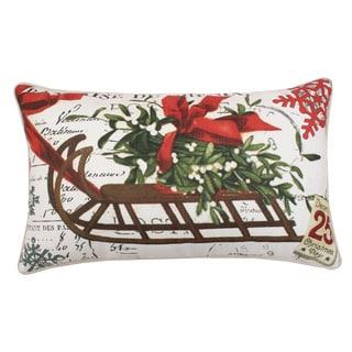 Vintage Christmas Sleigh 12 x 20 Feather Filled Throw Pillow