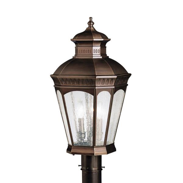 Traditional 3-light Burnished Bronze Outdoor Post Head, Clear Seedy Glass Panels