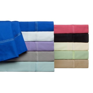 Verona Embroidered Wrinkle Resistant 300 Thread Count Cotton Solid Sheet Set