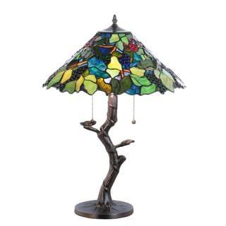 25-inch Tiffany Grape Harvest Apple Tree Table Lamp