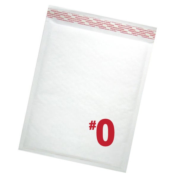 Size #0 Self-seal White Kraft Bubble Mailers Extra Wide