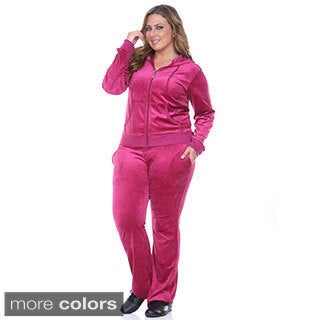 White Mark Plus Size Velour Two-Piece Lounge Suit