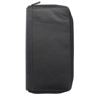 YL Fashion Unisex Black Leather Zip-around Passport Case